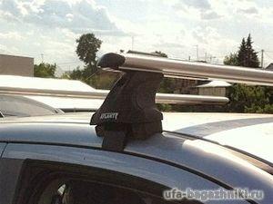 Багажник на крышу Mitsubishi ASX, без рейлингов, без штатных мест, Атлант, аэродинамические дуги, опора Е