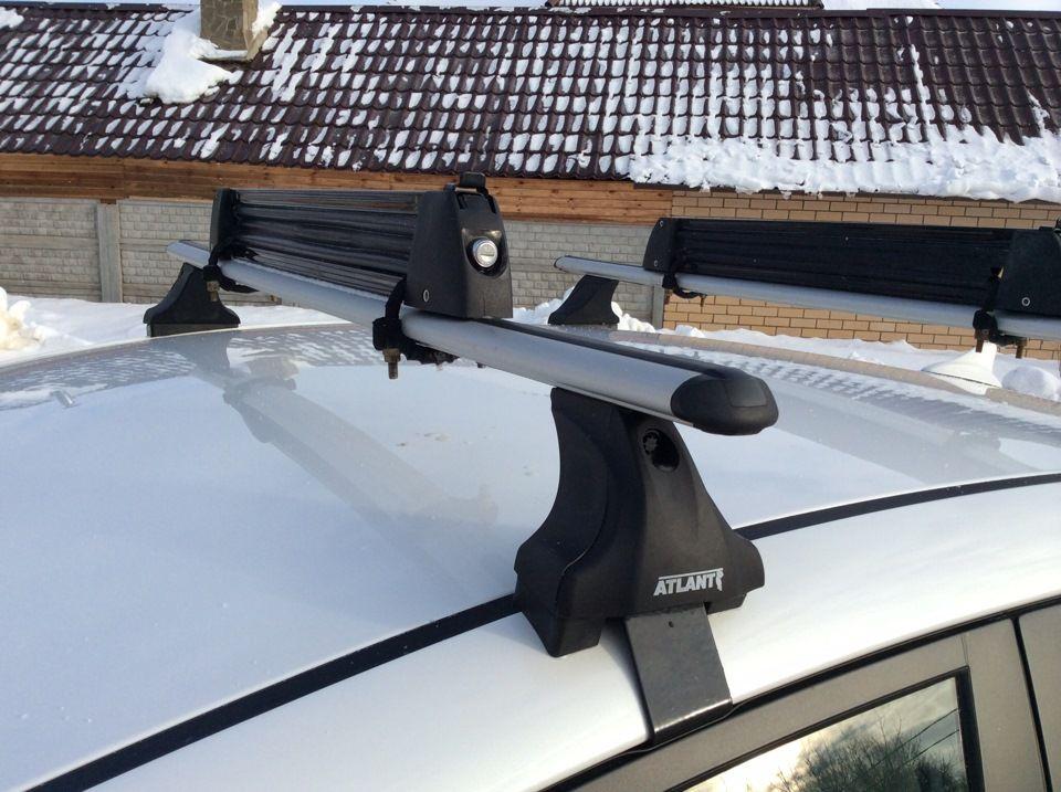 Багажник на крышу Kia Cerato YD 2013-..., Атлант, аэродинамические дуги, опора Е